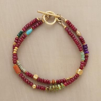 """JUBILATION BRACELET--Two joyful strands with rubies, sugilite, gaspeite, chrysoprase, tourmaline, pyrite, coral, clay, sterling silver plus 22kt goldplate highlights. Exclusive. Handcrafted in USA. Approx. 7""""L."""