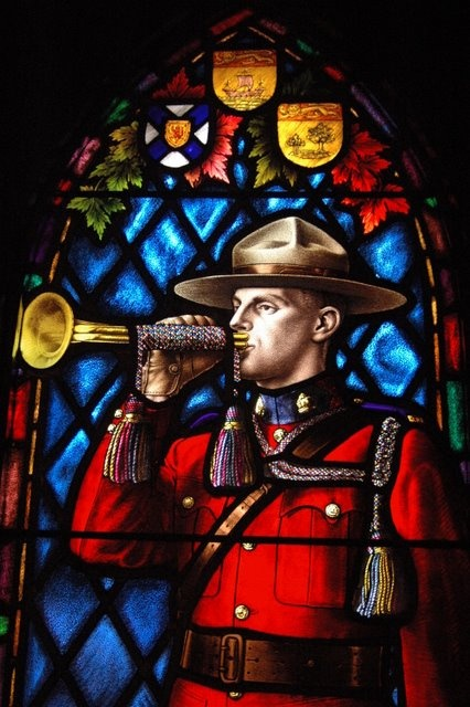 Stained Glass Window in the RCMP Chapel Regina.