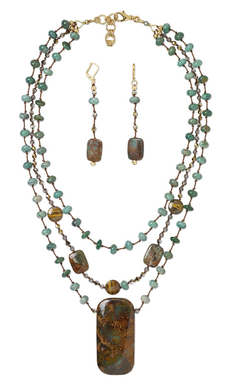 Jewelry Design - Triple-Strand Necklace and Earring Set with Gemstone Beads and Focal and Swarovski Crystal - Fire Mountain Gems and Beads