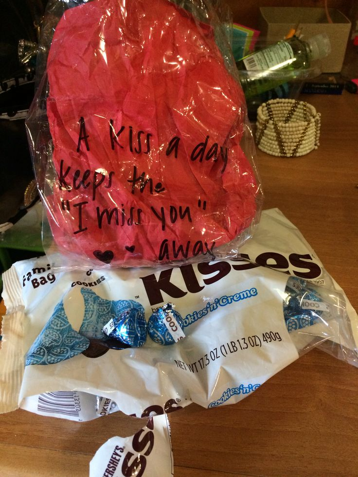 """A kiss a day keeps the 'I miss you' away!"" -made with Hershey kisses. Boyfriend gift for going away"