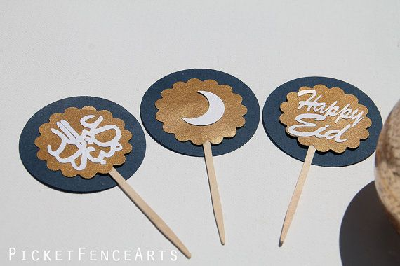Eid Mubarak Cupcake Toppers Eid Cupcakes Happy by PicketFenceArts