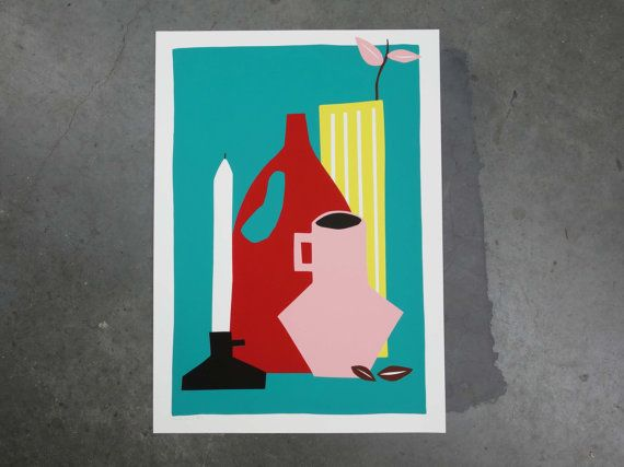 Colorful screenprint of a stil life including a candle