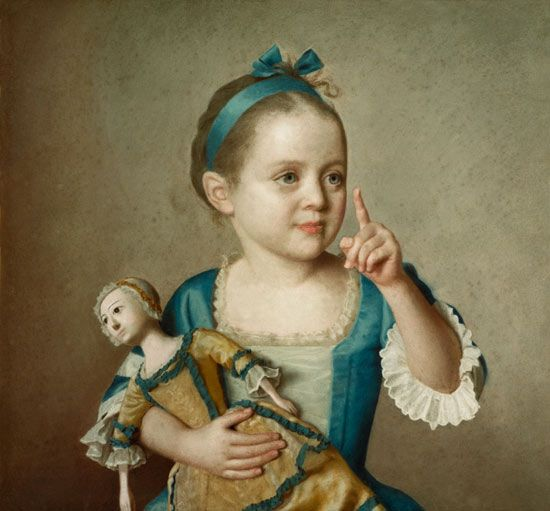 Jean Etienne Liotard (1702-1789). Girl with doll.