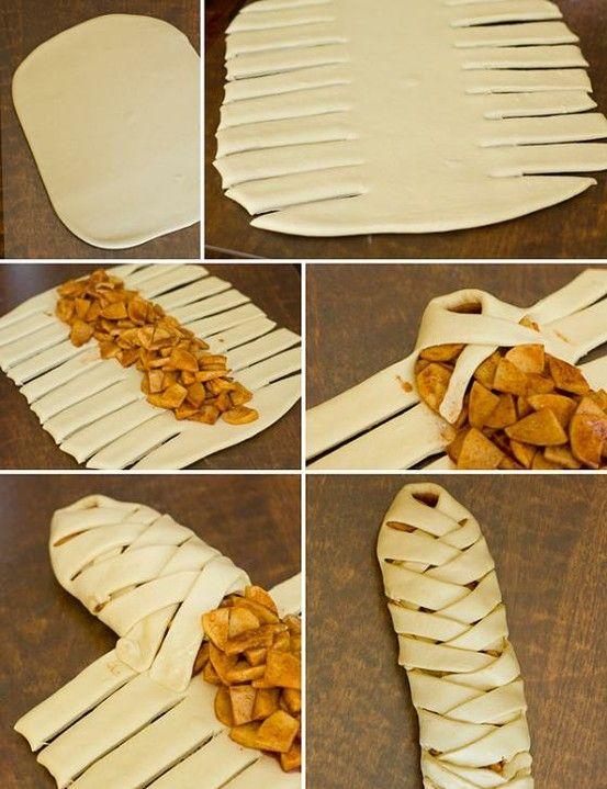 Strudel de Manzana: 450 gramos de masa de hojaldre congelada (de la que venden en Sam´s) 1/2 taza de azúcar refinada 1 cucharadita de canela 1/2 cucharadita de nuez moscada 1 cucharada de Maizena 1 huevo 2 cucharadas de agua 2 cucharadas de azúcar estandar 6 manzanas grandes cortadas en rodajas