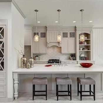 Light Gray Kitchen Cabinets with Arabesque Tile Backsplash, Transitional, Kitchen