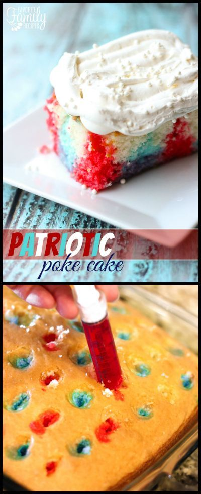This Patriotic Poke Cake is the perfect chilled dessert for your Independence Day. It is so fun with the red white and blue colors inside. via @favfamilyrecipz