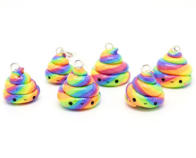 Mini Unicorn Poop Charm ~ Rainbow Keychain or Dust #kawaii #unicorn #cute