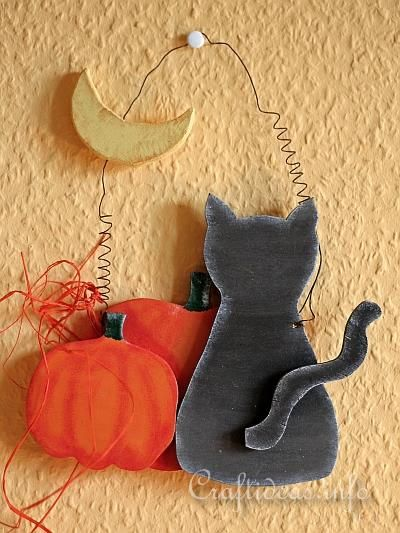 Pattern and instructions for Wood Craft for Halloween - Wooden Cat Staring at the Moon