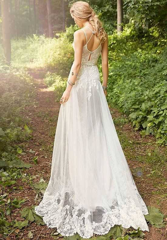 Ivory / Cashmere A-line bridal gown with placed lace throughout. Sweetheart neckline with jeweled closures at back, crystal embroidered trim at the natural waist.