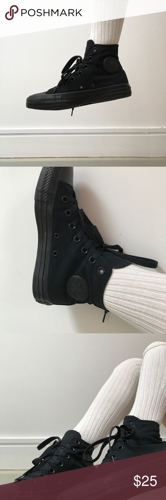 • Black high top chuck taylors All black high tops with classic converse logo  Super comfortable  Goes with anything Worn once Converse Shoes Sneakers