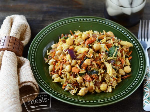 This Harvest Vegetable Orzo brings out a taste of the season with wilted kale, tender sweet potatoes and sautéed red onions in a savory ginger sauce. | Harvest Vegetable Orzo | Once A Month Meals | OAMC | Freezer Cooking | Freezer Meals | Vegetarian Menu
