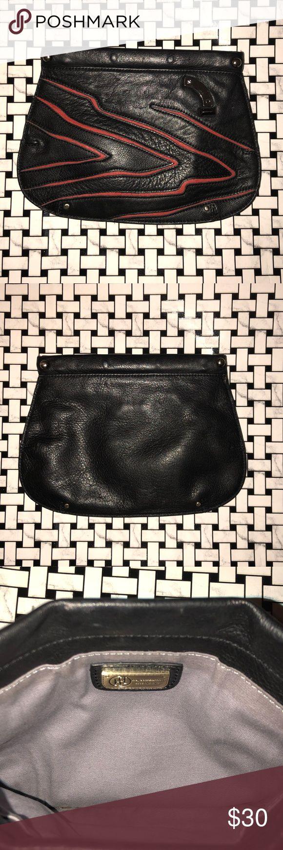 Hayden Harnett leather Clara flat clutch Hayden Harnett clutch  Black and red leather  Metal opening (magnetic) Hayden Harnett Bags Clutches & Wristlets