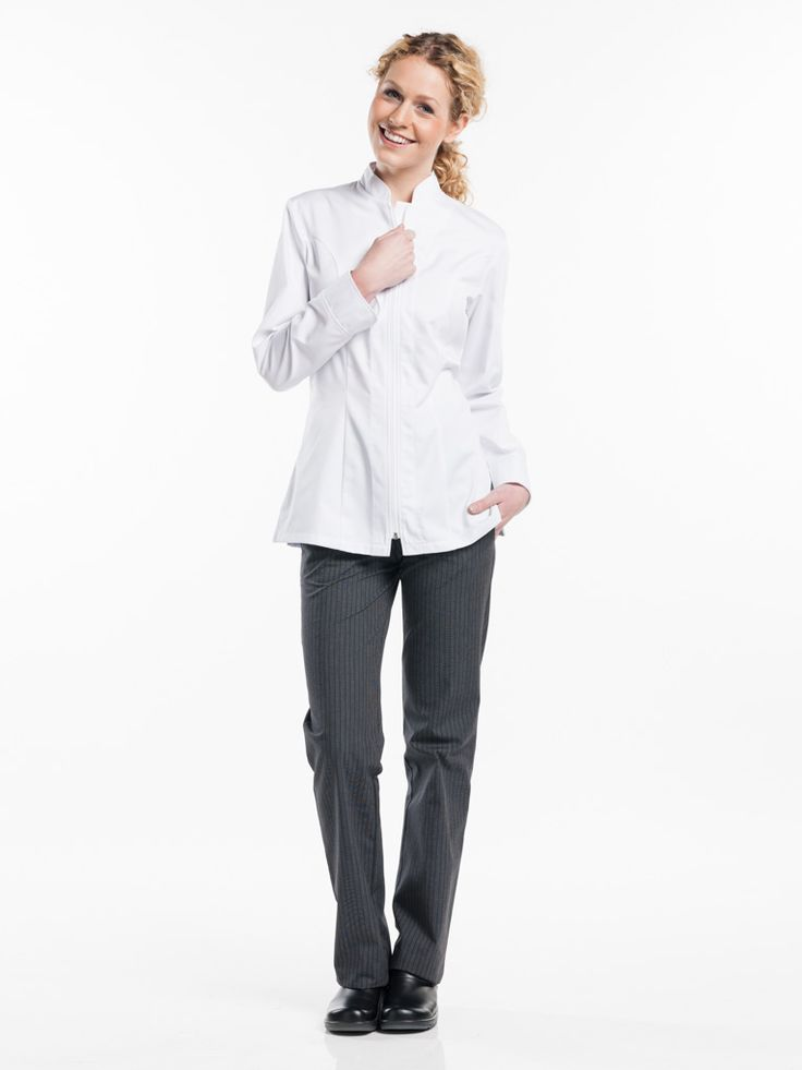 #952 Chef Jacket Lady Monza White - This is the ladies version of the popular Monza jacket; our very first zip-up jacket. Even though it has a traditional design it still looks trendy and modern. Thanks to the unique construction of the zip (inserted inside out) the jacket is not only beautifully finished but also wear and tear resistant. The ladies model is elegantly tailored for a feminine look.  Tailored Fit Zip-fastening Perfect fit for ladies