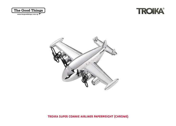 TROIKA SUPER CONNIE AIRLINER PAPERWEIGHT.    LegendAIR and your ideas will take off...    SUPER CONNIE, the paper weight aeroplane with friction motor and magnet.    #tgt #thegoodthings #troika