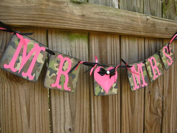 Mr And Mrs Camo Banner Camo And Fuchsia Camouflage Wedding Banner The Hunt Is Over Camo Wedding Decorations