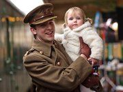 Dan Stevens with his daughter Willow, on the set of Downton Abbey, Series 2