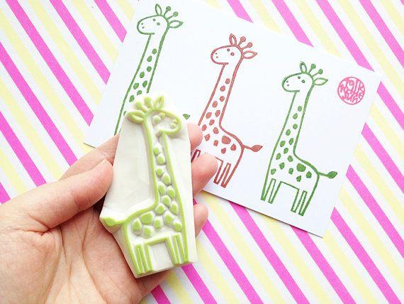 giraffe rubber stamp. hand carved stamp. safari animal stamp. birthday card making. diy baby shower gift wrap. holiday children craft. large
