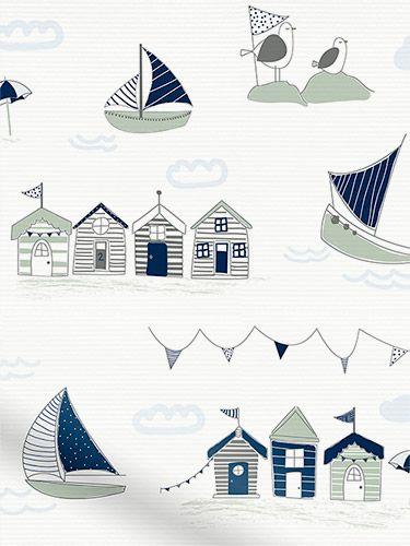 Splash Beach Hut Navy Roller Blind from Blinds 2go