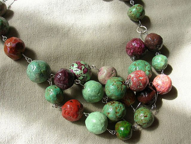 Papier mache bead necklace by Beadhelly, via Flickr