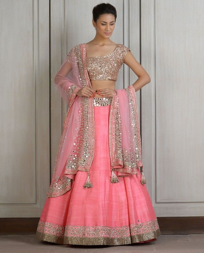 9 pink lengha with mirror work