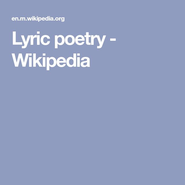 Lyric poetry - Wikipedia