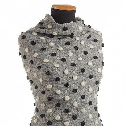 Art textil vařená vlna vzor puntíků černá/bílá