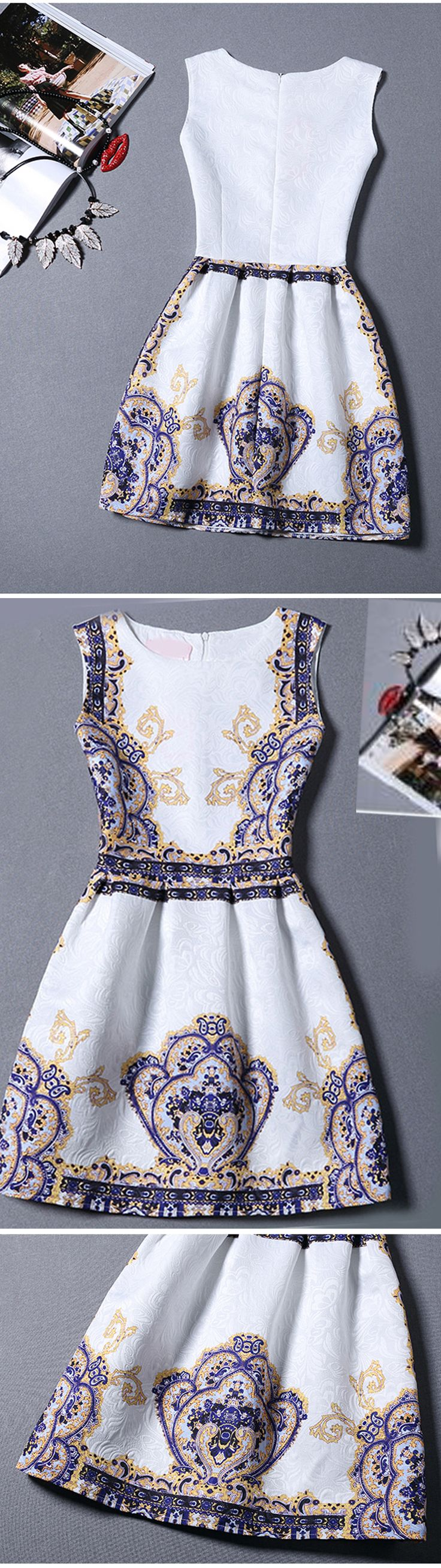 Multicolor Sleeveless Vintage Print Jacquard Dress. Women trendy this year. Really great dress for dress up or down. US$11.99 .Click to sign up for 60% off 1st order.