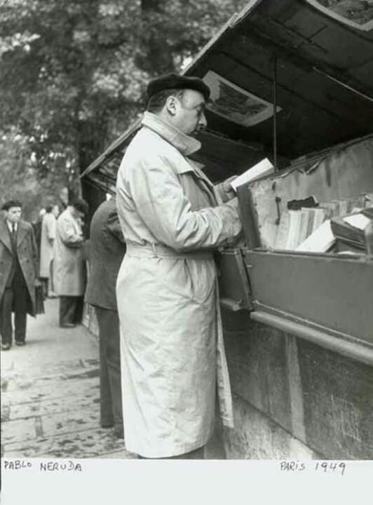 Pablo Neruda in Paris, 1949. Coleccion del Museo Historico Nacional. Photo: Marcos Chamúdes