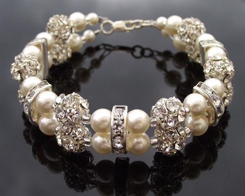 Double Row Swarovski Pearl & Crystal Encrusted Bracelet, Monroe