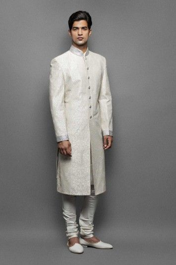 Image result for milky white brocade sherwani