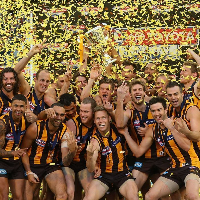 Hawks players celebrate with the Premeirship Cup during the 2014 AFL Grand Final match between the Sydney Swans and the Hawthorn Hawks at Melbourne Cricket Ground on September 27, 2014 in Melbourne, Australia.