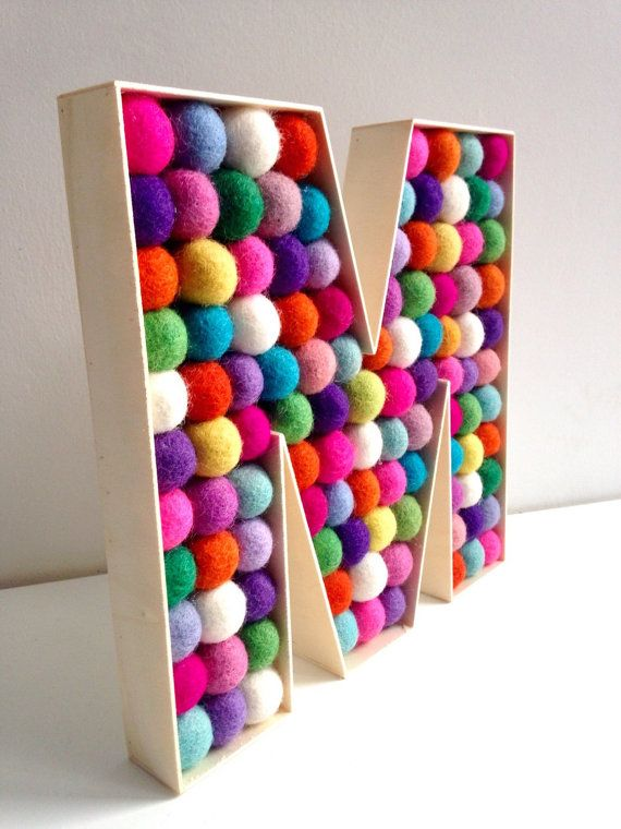 Felt ball filled Wooden Letter M. Free Standing by hoppsydaisy