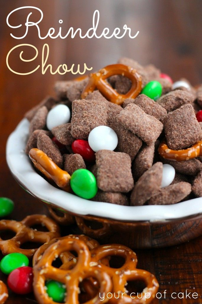 Reindeer Chow...muddy buddies with mint M&M's and pretzels!