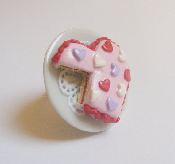Scented Heart Cake Miniature Food Ring  Miniature Food by NeatEats, £12.99