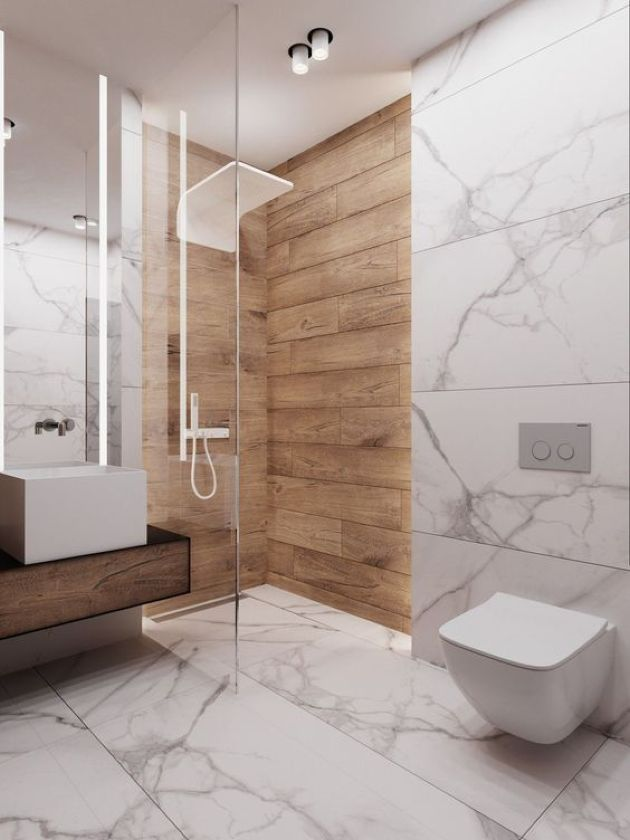 Minimalist Bathroom With White Marble Plus A Floating Wooden ...