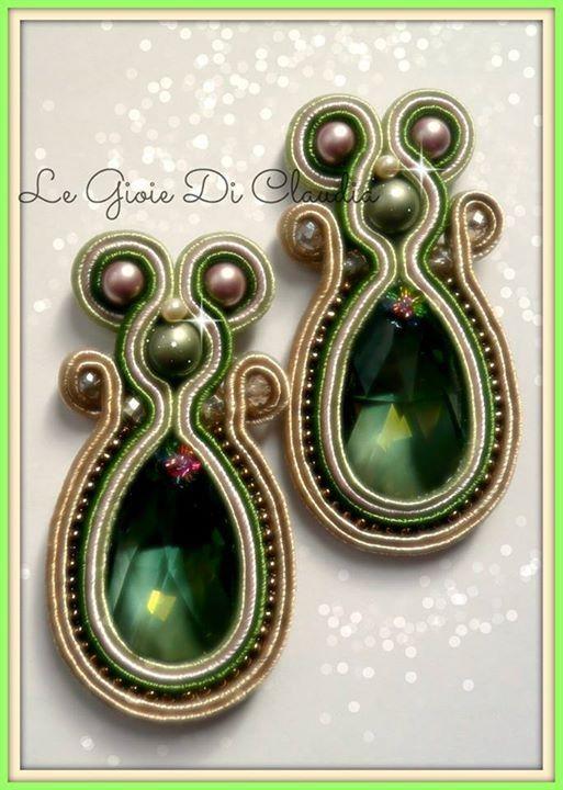 Orecchini soutaches con perle e cristalli Swarovski
