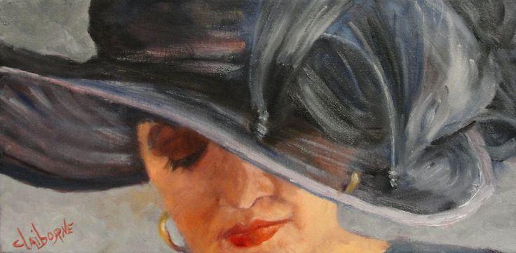"Oil painting of Woman in Blue Hat gazing downward  ""Sunday Morning""  8 x 16 Oil on Canvas  www.claibornescorner.com claibornescorner@aol.com"