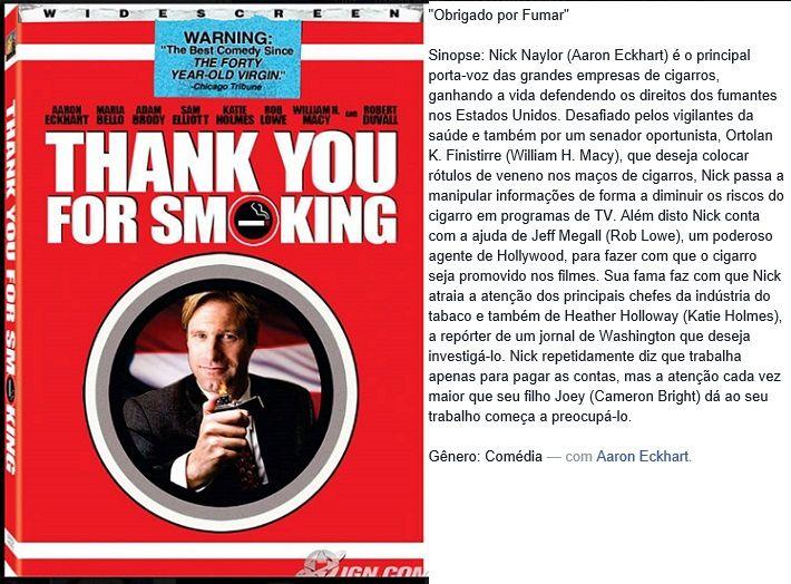 filme-obrigado por fumar - sinopse
