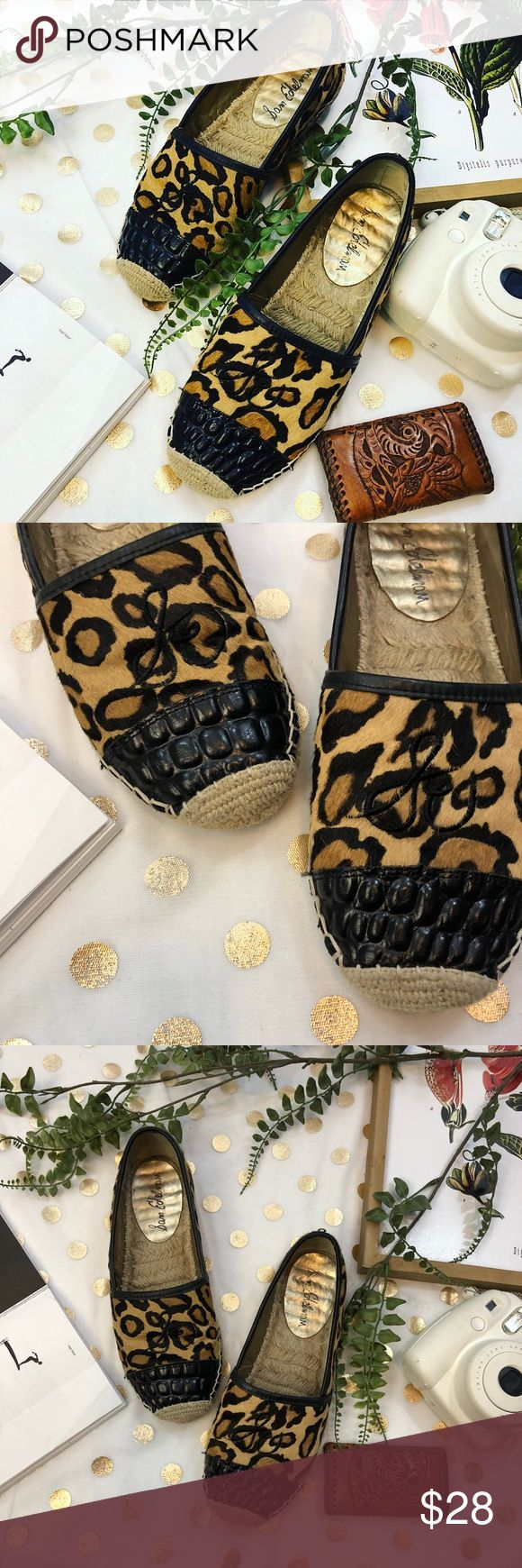 Sam Edelman cheetah leather espadrilles size 7.5 Sam Edelman cheetah leather espadrilles size 7.5 In good used condition  A comfortable shoe that be worn all day while running errands or shopping your heart out !  I love a pop of cheetah during spring , well any season really ✨  Any ? Please ask  I would love to accept your offer ✨💛 Sam Edelman Shoes Espadrilles