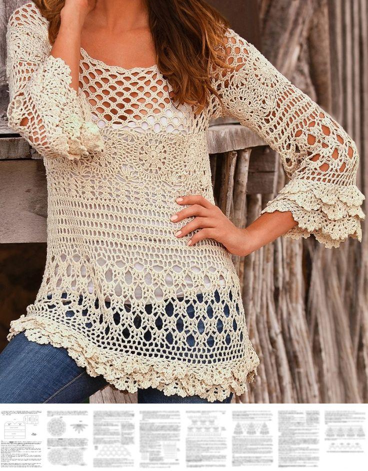 Crochet pullover PATTERN, boho tunic pattern, boho ruffle sweater pattern.