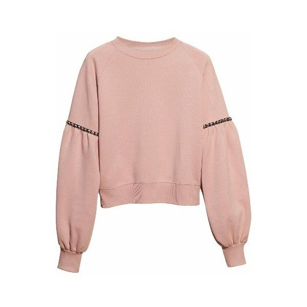 Burberry Puff-Sleeved Cotton Blend Jersey Sweatshirt ($795) ❤ liked on Polyvore featuring tops, hoodies, sweatshirts, sweaters, ruched tops, burberry sweatshirt, cotton jersey, pink top and puff sleeve top