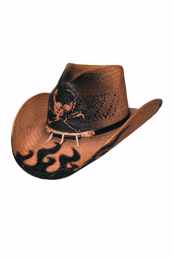 Bullhide Dangerous Skull and Flame Straw Cowboy Hat