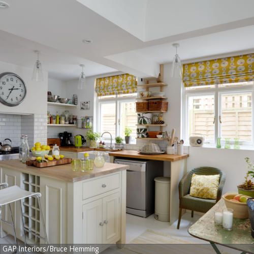 Cottage style kitchen in yellow and orange