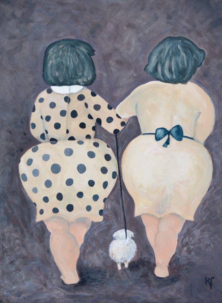 Deze dikke dames heb ik getekend met houtskool en geschilderd met acrylverf. Dit was pas de 2e keer dat ik iets schilderde op een doek.