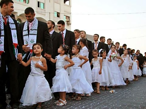 """Not their dads... Their husbands!;  Hamas sponsored """"wedding"""" of 7 year old girls to 20 something boys!! How sick and disgusting can these pigs be?"""