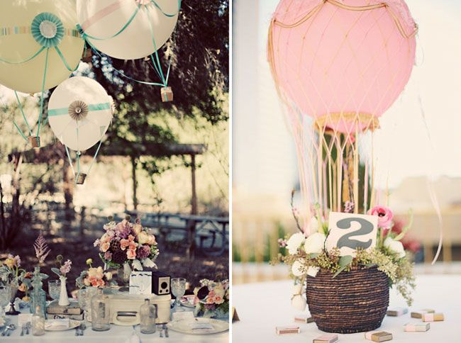 hot air ballon decor...how friggin cute: Wedding, Wedding Ideas, Ballon Decor How, Air Ballon, Hot Air Balloon Centerpieces, Hot Air Balloons, Air Balloons Decor, Party Ideas, Baby Shower