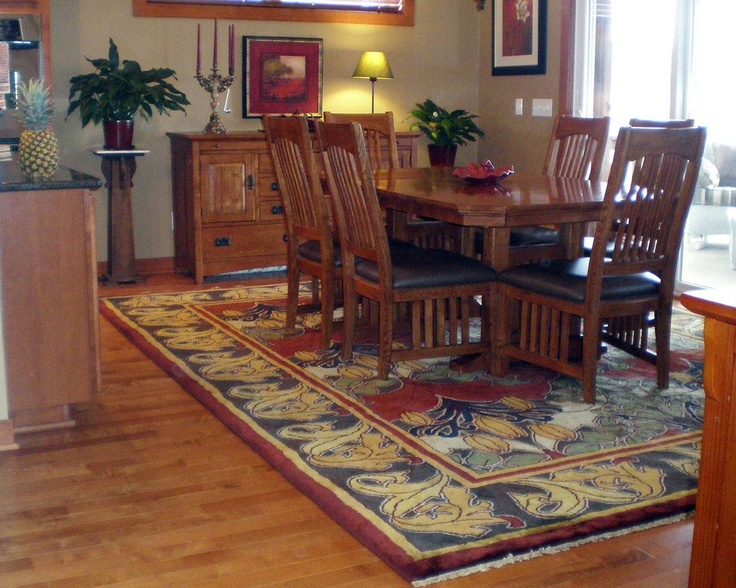 Craftsman Area Rug ~ Lily & Vine 3 in the red and brown colors from the Voysey GuildCraft Carpets Collection. 100% New Zealand Wool, Hand-knotted in India in a GoodWeave facility, meaning only adult artisans were used to weave this carpet.  This matters!