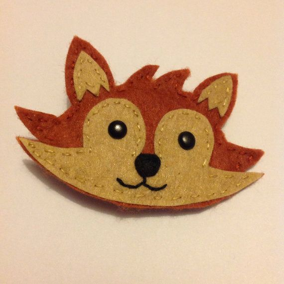 Felt Fox Brooch, fox badge, colourful, customised, felt badge, fox pin, ready to ship