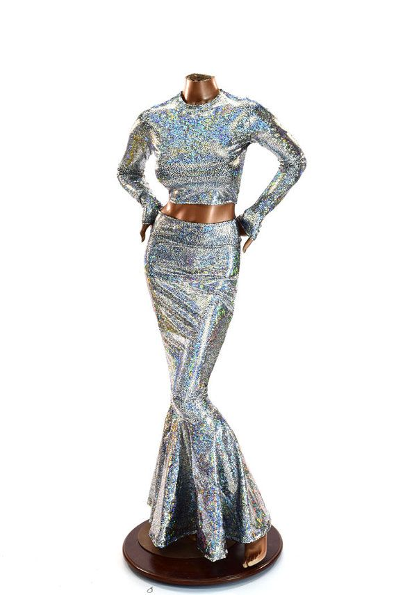2PC High Waist Mermaid Wiggle Skirt And Long Sleeve Crop Top Set In Silver  U0026 Black