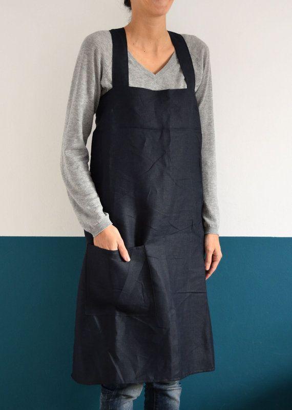 Japan Apron Linen, Cross Apron, Simple squared design for Kitchen, Garden, Small…